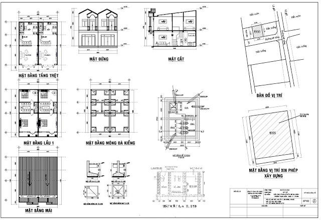 mẫu bản vẽ xin phép xây dựng