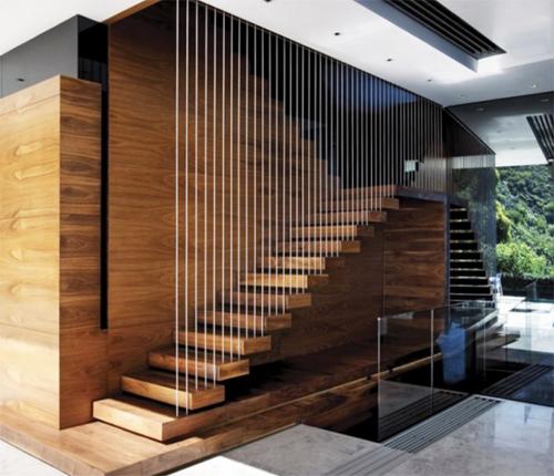 cầu thang gỗ dây cáp