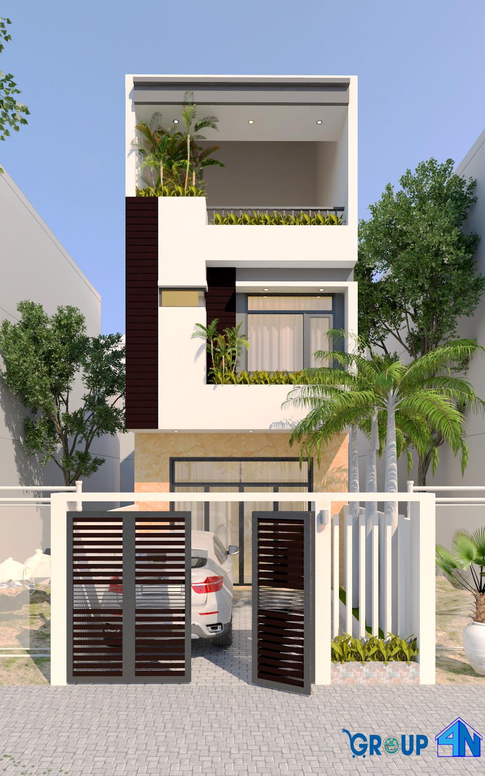 mẫu nhà 3 tầng đẹp 5 x 16 m2