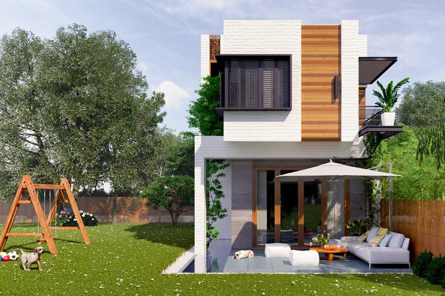 mẫu nhà đẹp 2 tầng 5x20 lệch tầng