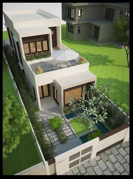 mẫu nhà đẹp 2 tầng 5x20 sân vườn
