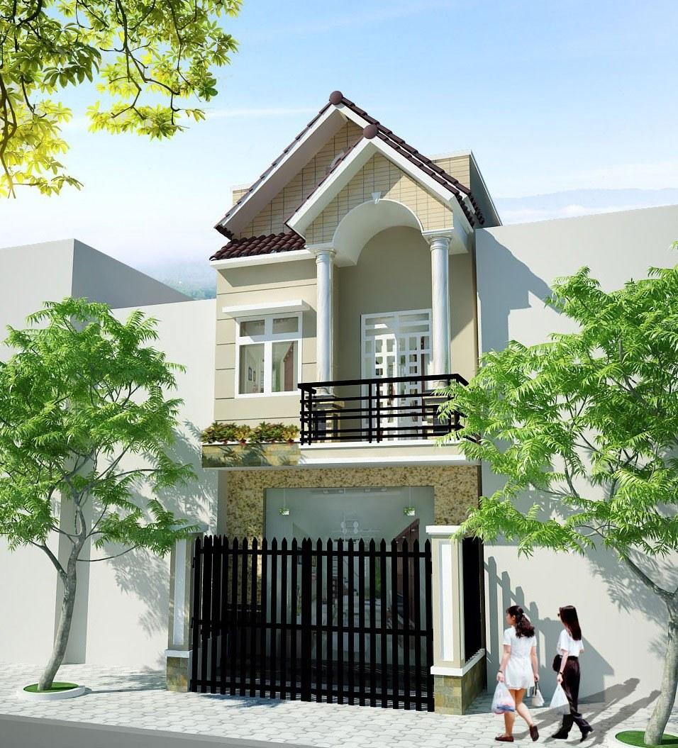 mẫu nhà đẹp 2 tầng 5x20 mái thái