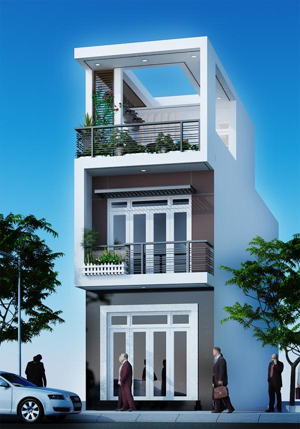 mẫu nhà đẹp 2 tầng 5x20 1 tum