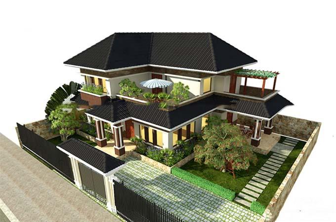 mẫu nhà vườn đẹp 2 tầng mái thái