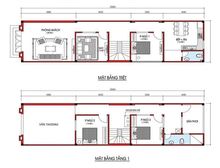 nhà 2 tầng 3 phòng ngủ 5x18
