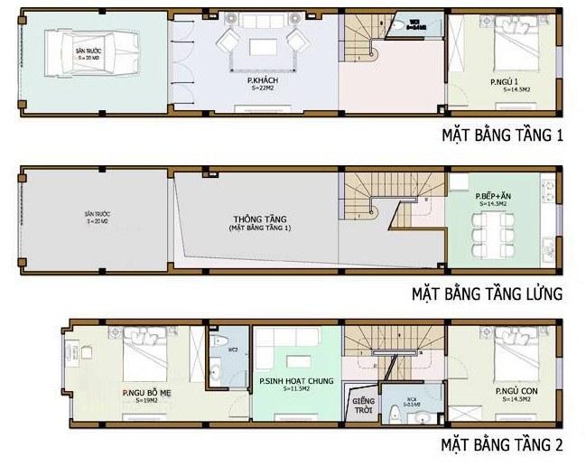 nhà 2 tầng 3 phòng ngủ có gác lửng
