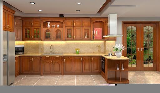mẫu tủ bếp gỗ tự nhiên sang trọng