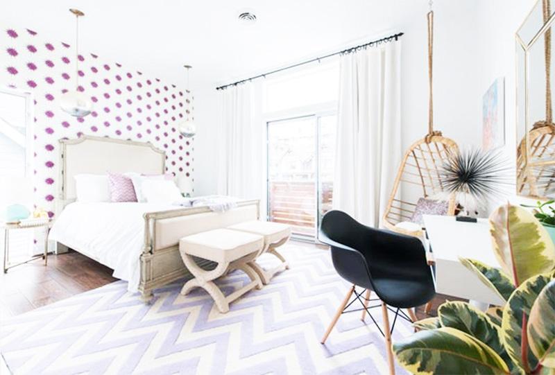 trang trí phòng ngủ với hoạ tiết đơn giản