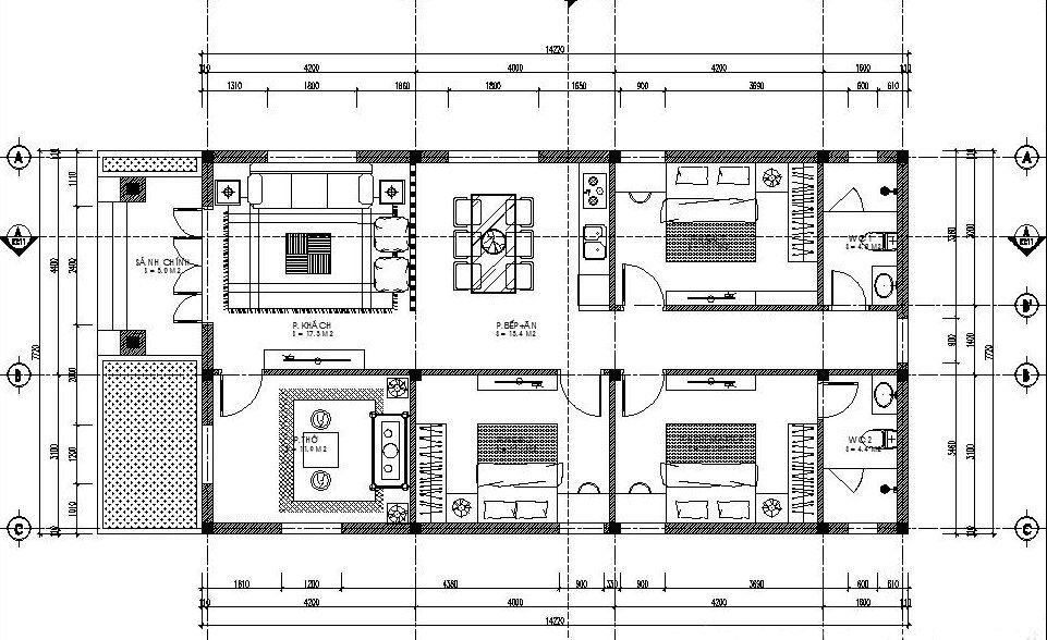 bản vẽ mẫu nhà cấp 4 3 phòng ngủ 1 phòng thờ