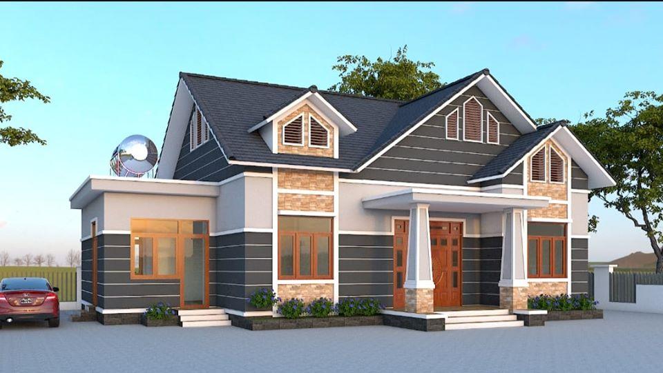 thiết kế nhà cấp 4 3 phòng ngủ sân vườn
