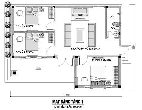 mẫu nhà cấp 4 3 phòng ngủ 100m2