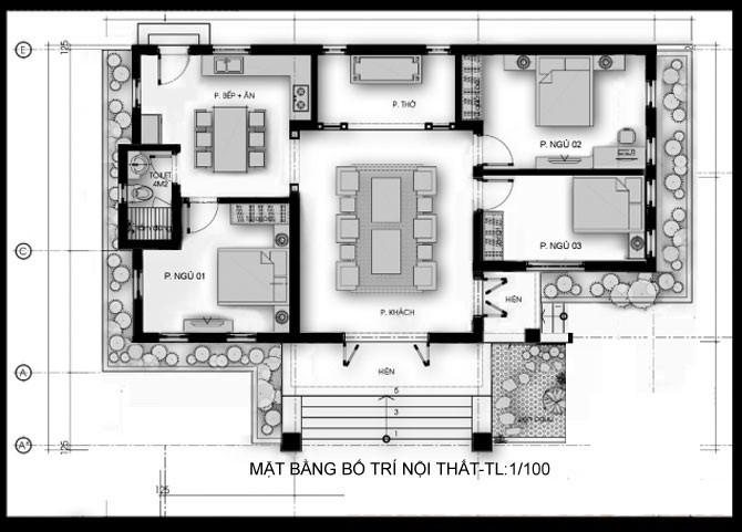 mẫu nhà cấp 4 mái thái 1 phòng thờ 3 phòng ngủ