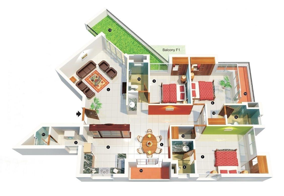 thiết kế nhà cấp 4 sân vườn 3 phòng ngủ