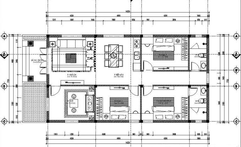 mẫu nhà ống cấp 4 với 3 phòng ngủ