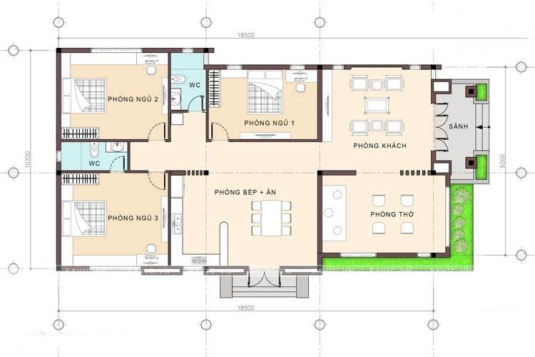 mẫu nhà cấp 4 1 phòng thờ 3 phòng ngủ