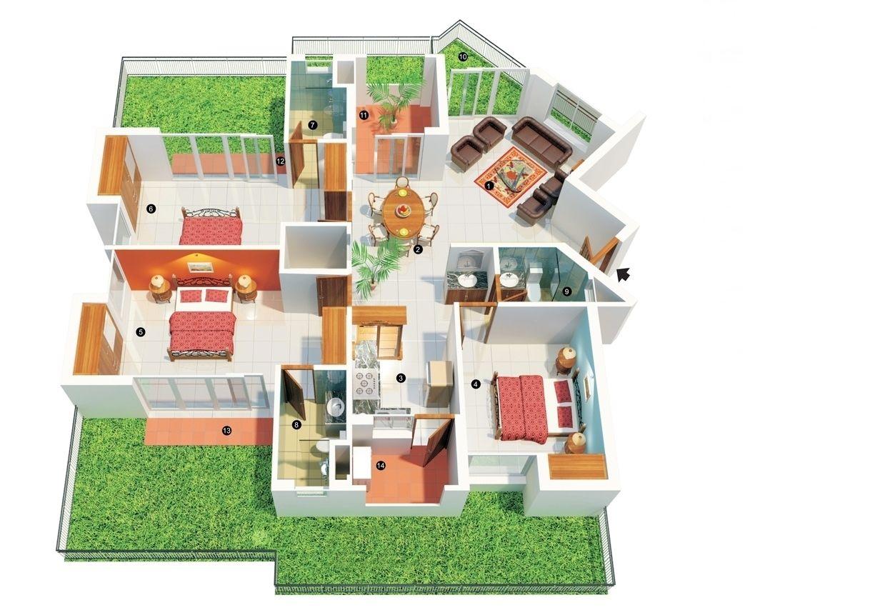 mẫu nhà cấp 4 sân vườn 3 phòng ngủ