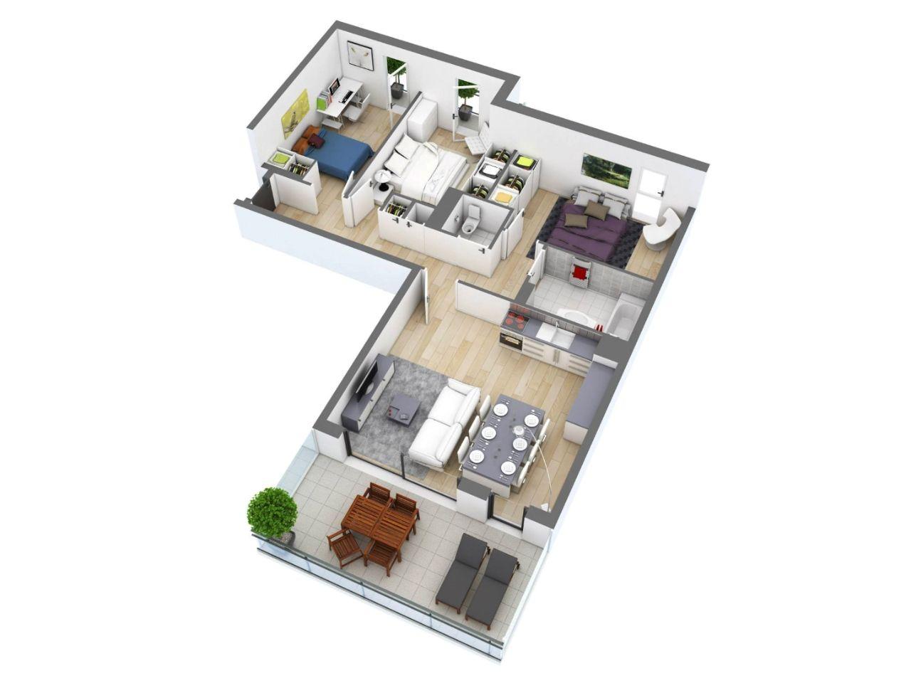 mẫu nhà cấp 4 chữ L mái thái 3 phòng ngủ