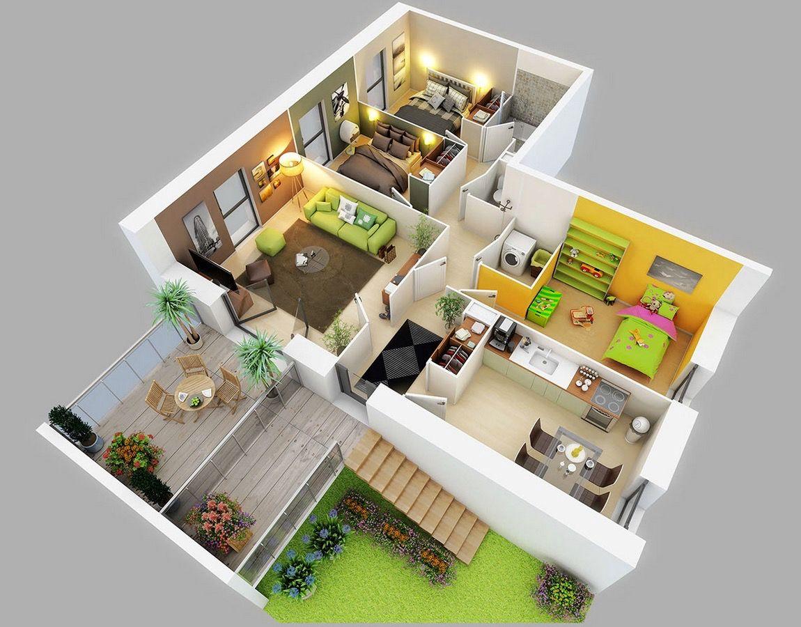 mẫu nhà cấp 4 kết hợp sân vườn 3 phòng ngủ
