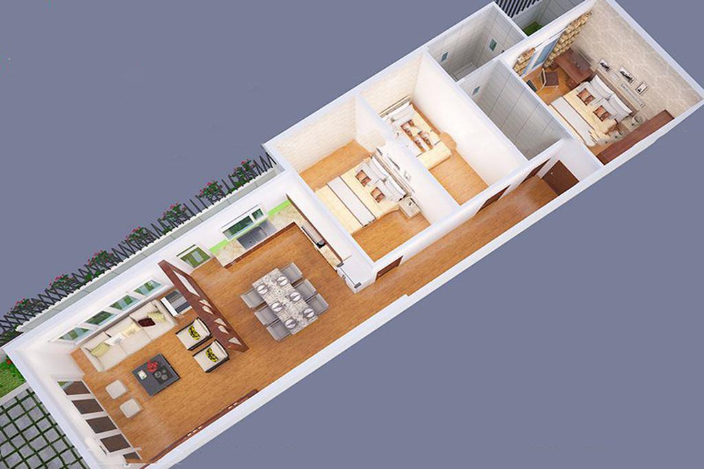 mẫu nhà cấp 4 mái bằng 3 phòng ngủ