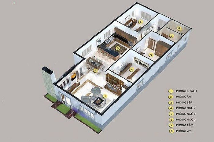 bản vẽ mẫu nhà cấp 4 giả biệt thự 3 phòng ngủ