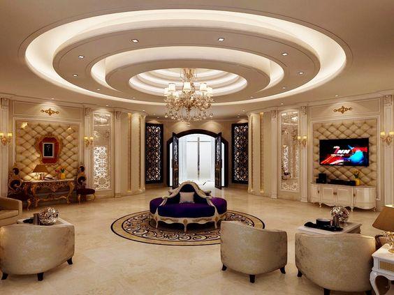 trần thạch cao phòng khách hình tròn