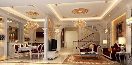 mẫu trần thạch cao phòng khách đẹp cổ điển