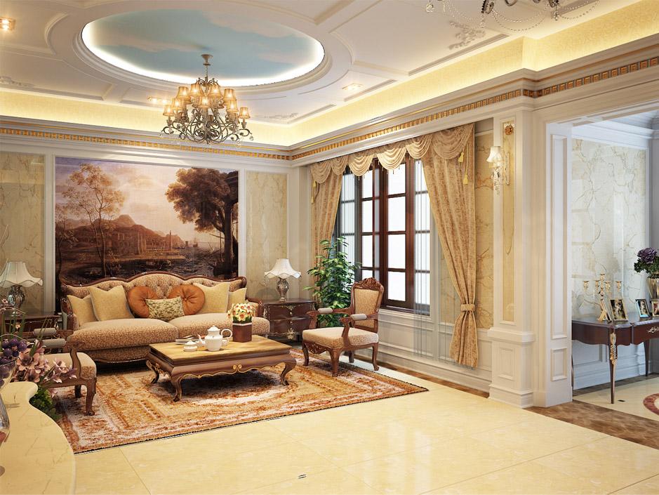 trần thạch cao phòng khách phong cách cổ điển