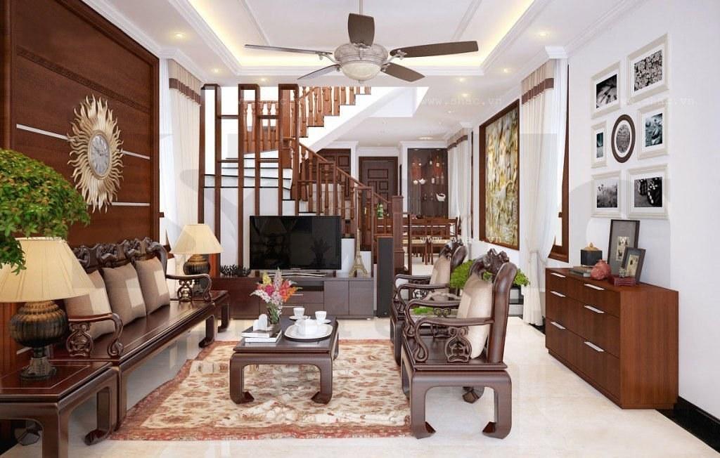 trần thạch cao phòng khách đẹp nhà ống