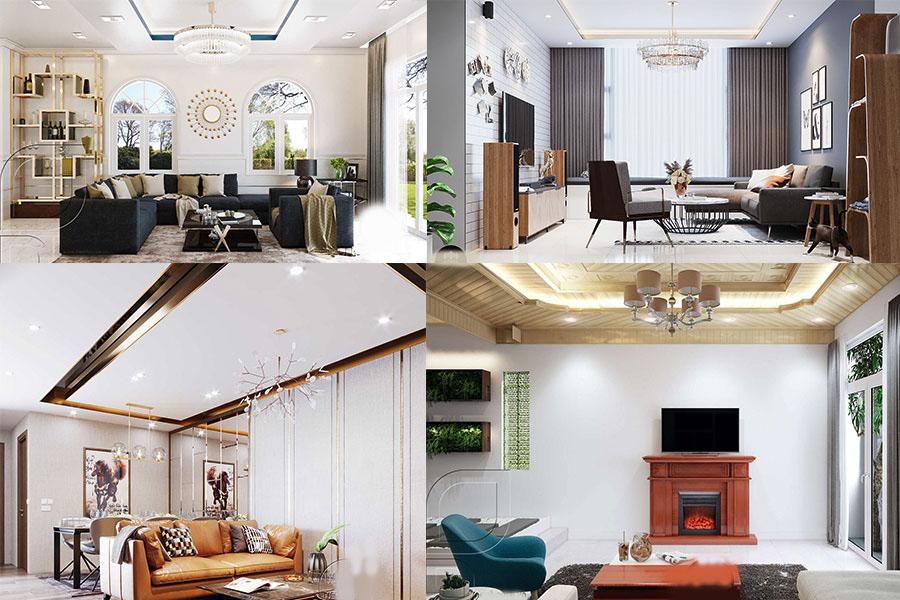trần thạch cao cho phòng khách đẹp