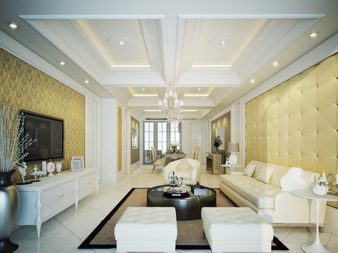 trần thạch cao phòng khách đẹp cổ điển