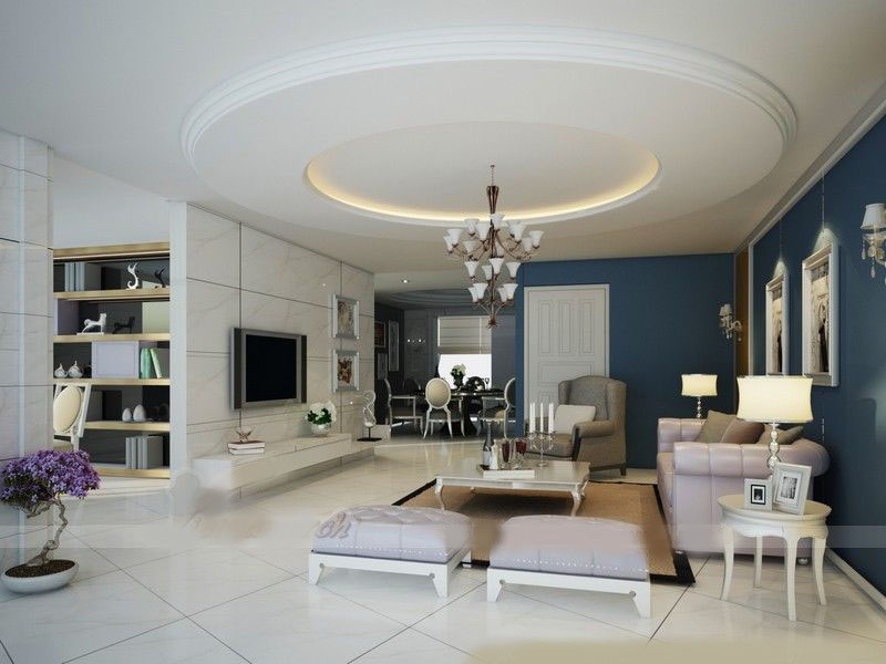 trần thạch cao phòng khách đẹp hình tròn