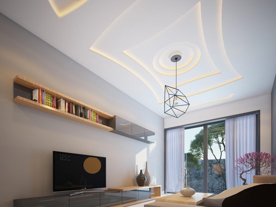 mẫu trần thạch cao phòng khách đẹp cho nhà ống