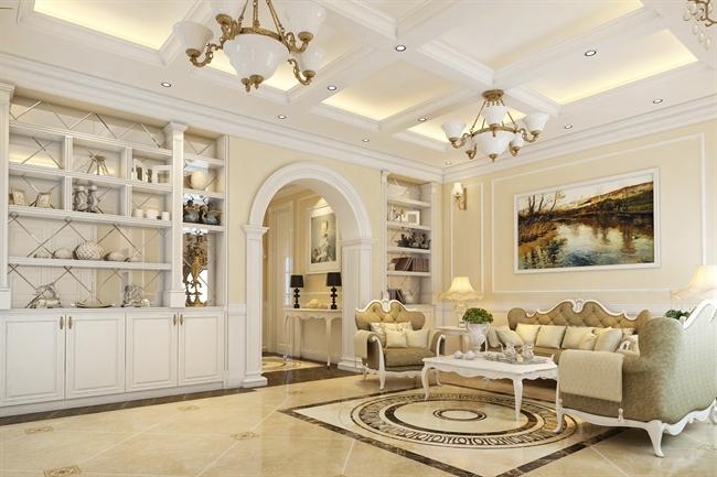 trần thạch cao phòng khách đẹp tân cổ điển
