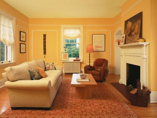 nội thất nhà màu vàng đất