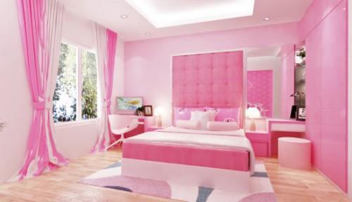 mẫu thiết kế phòng ngủ cho bé gái màu hồng