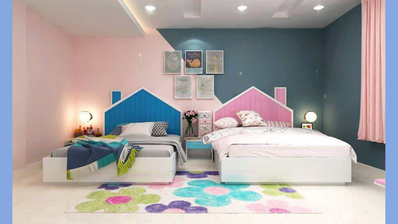 phòng ngủ cho 2 bé gái có giường đơn đẹp