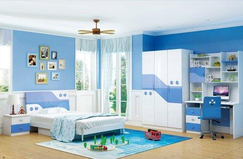 mẫu phòng ngủ cho bé gái màu xanh