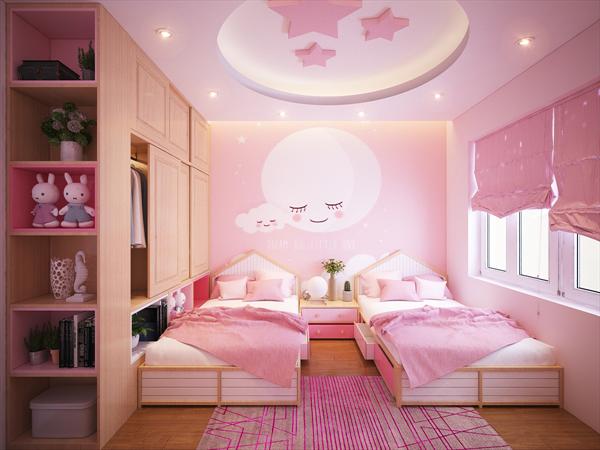 phòng ngủ cho 2 bé gái với 2 giường đơn