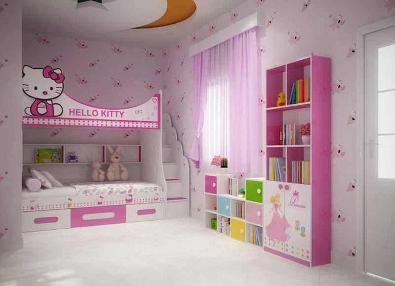 mẫu phòng ngủ cho bé gái có giường tầng