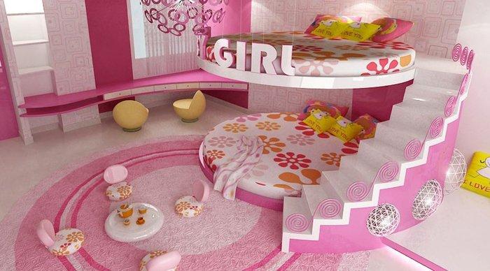 mẫu phòng ngủ cho 2 bé gái có giường tầng
