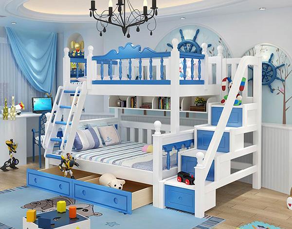 thiết kế phòng ngủ màu xanh giường tầng cho bé gái
