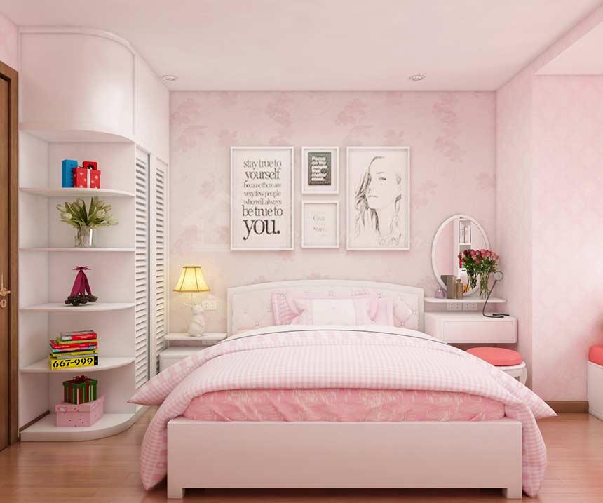 phòng ngủ bé gái 15 đến 18 tuổi tối giản