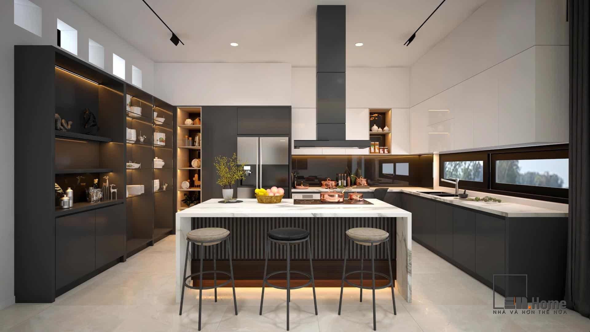 Đá nhân tạo trong thiết kế nhà bếp hiện đại