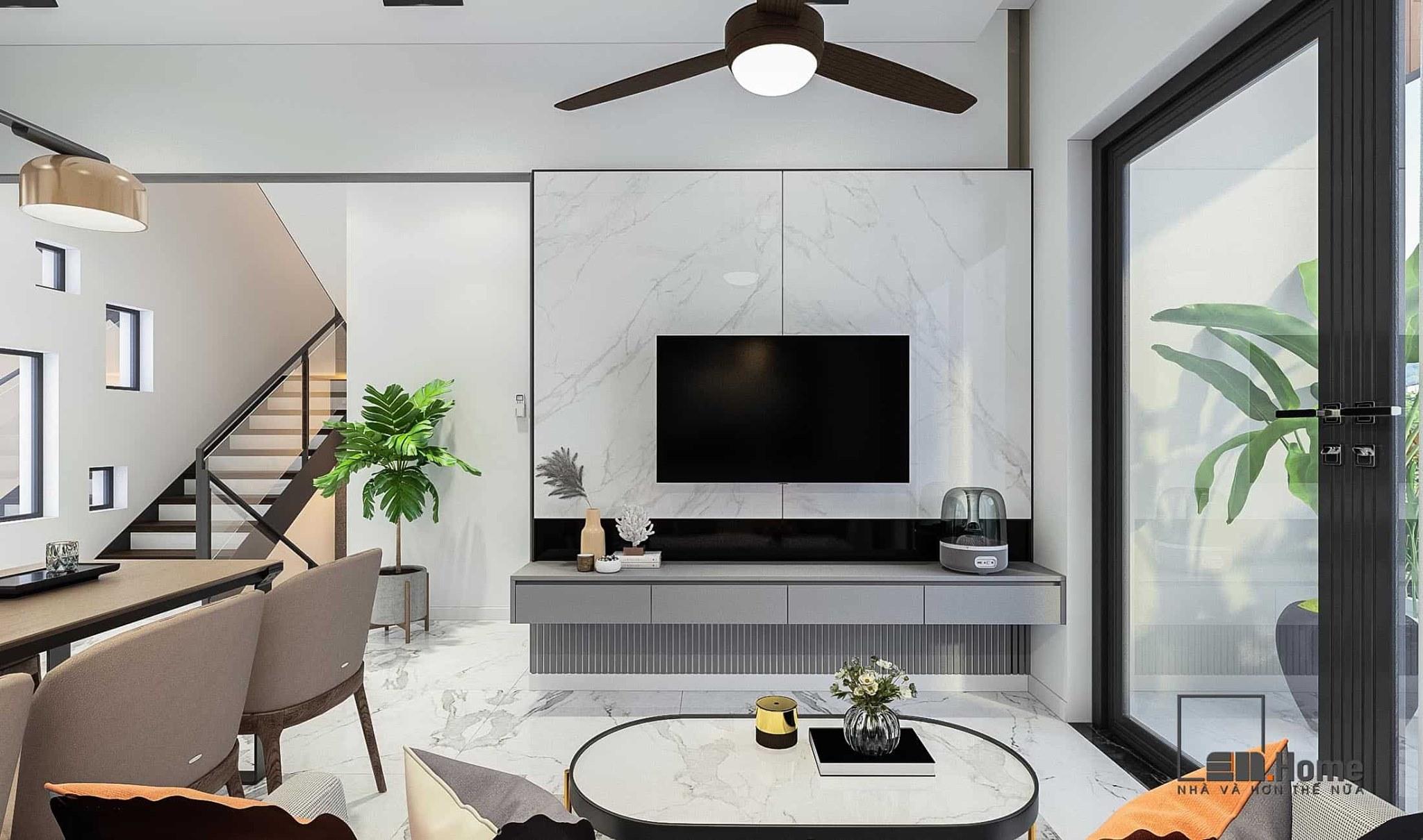 Thiết kế phòng khách thêm thanh thoát, sang trọng, ấn tượng với đá nhân tạo