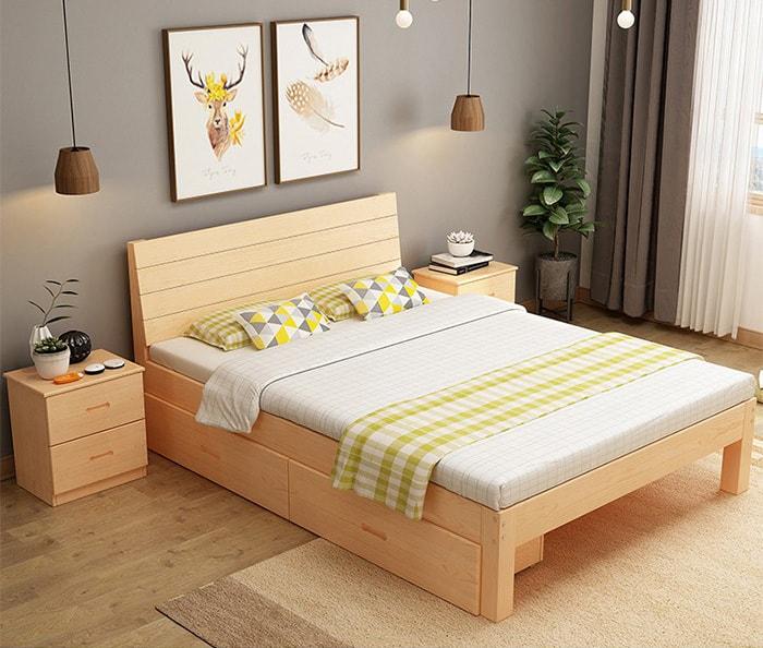 mẫu giường kiểu nhật gỗ tự nhiên đẹp