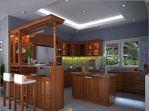 mẫu tủ bếp quầy bar gia đình đẹp