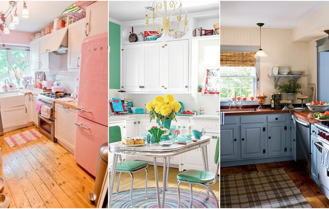 phong cách retro là gì phòng bếp