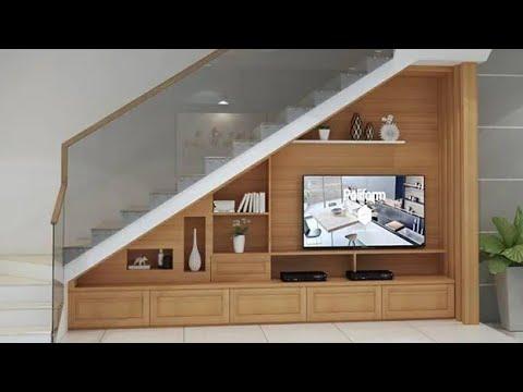 tủ tivi cầu thang sang trọng