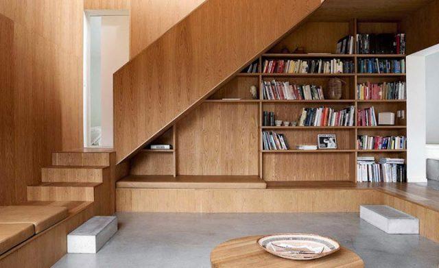 tủ sách gầm cầu thang đẹp