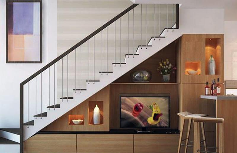 mẫu tủ tivi dưới chân cầu thang sang trọng